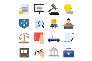 Copyright legal regulations. Business icons of law and protection. Vector pictures in flat style