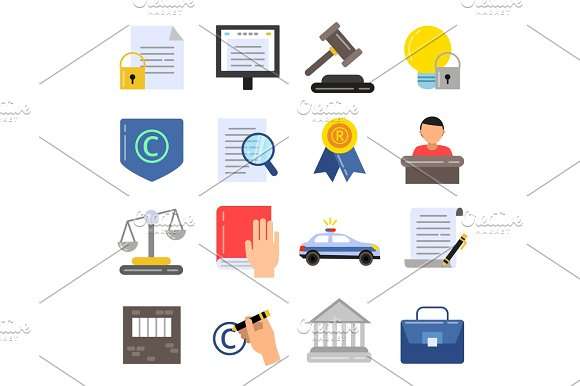 Copyright Legal Regulations Business Icons Of Law And Protection Vector Pictures In Flat Style
