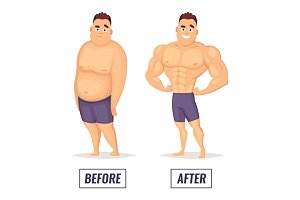 Two characters fat and muscular man. Visualization of loss weight