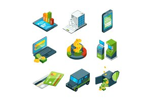 Digital banking. Online bank transaction. Digital operation. Isometric business icon set