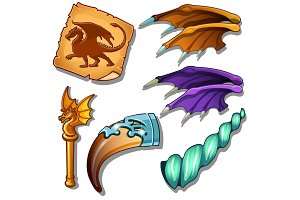 Dragon set - wings, picture. horn and golden rod