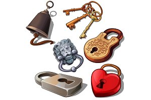Ancient, modern and romantic padlocks with keys