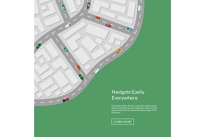 Vector city map with cars aerial top view from above illustration
