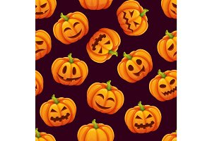 Halloween seamless pattern with different funny emotions of pumpkins
