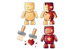 Gingerbread or wooden human character in red color