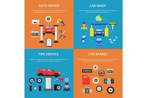 Colored banners set of concept illustrations of car services. Automobile washing and wheels repair