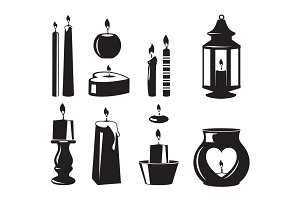 Monochrome vector symbols of candles for birthday party