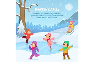 Kids playing in winter games on playground. Outdoors cartoon illustration