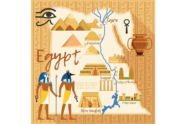 Stylized Map of Egypt with differen…