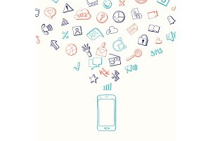 Vector background with social media hand drawn elements flying from smartphone