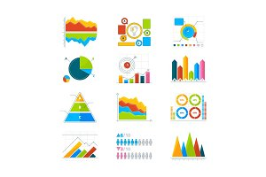 Vector modern elements for infographics. Horizontal and verticals bars, circle shapes, charts
