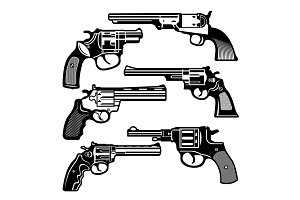 Monochrome illustrations of retro weapons. Revolvers vintage guns. Vector pictures set