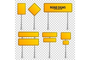 Road yellow traffic sign. Blank board with place for text.Mockup. Isolated on transparent background information sign. Direction. Vector illustration.