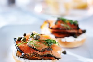 bagels and lox with capers