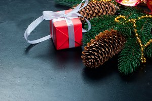 Christmas gift, fir, cones and candy
