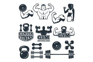 Different symbols and badges set for fitness club. Vector pictures for gym
