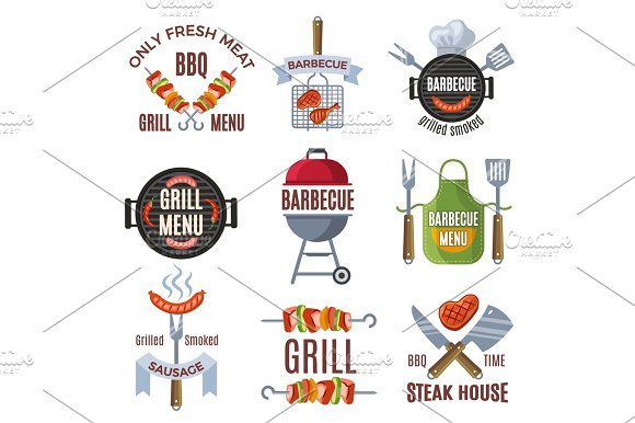 Colored Labels Set For Bbq Party Grilled Food