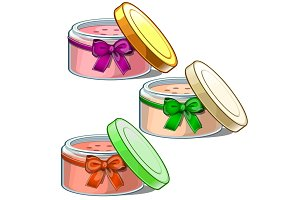 Three open cosmetic jars with cream for skin care