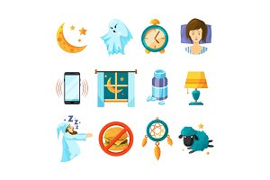 Symbols of night. Sleeping icon set. Insomnia