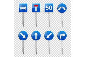 Road signs collection isolated on transparent background. Road traffic control.Lane usage.Stop and yield. Regulatory signs.