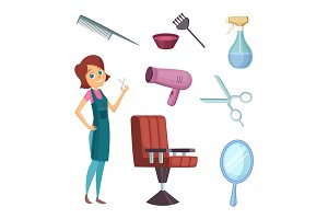 Female barber at work. Stylist with different tools for barbershop. Fashion pictures in cartoon style