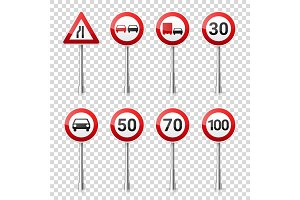 Road signs collection isolated on transparent background. Road traffic control.Lane usage.Stop and yield. Regulatory signs.Speed limit.