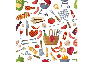 Seamless pattern. Different foods for bbq party