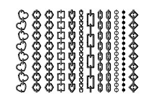 Silhouette of different steel chains isolate on white. Vector monochrome seamless set