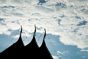 Silhouette of temple roof