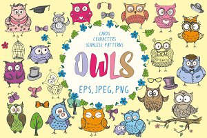 Cute hand drawn owls