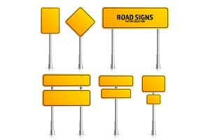 Road yellow traffic sign. Blank board with place for text.Mockup. Isolated on white information sign. Direction. Vector illustration.