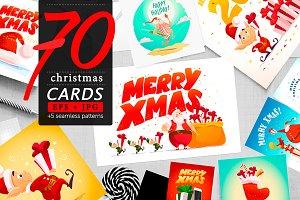 70 xmas cards, EPS+JPG