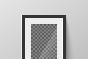 Black blank picture frame on wall