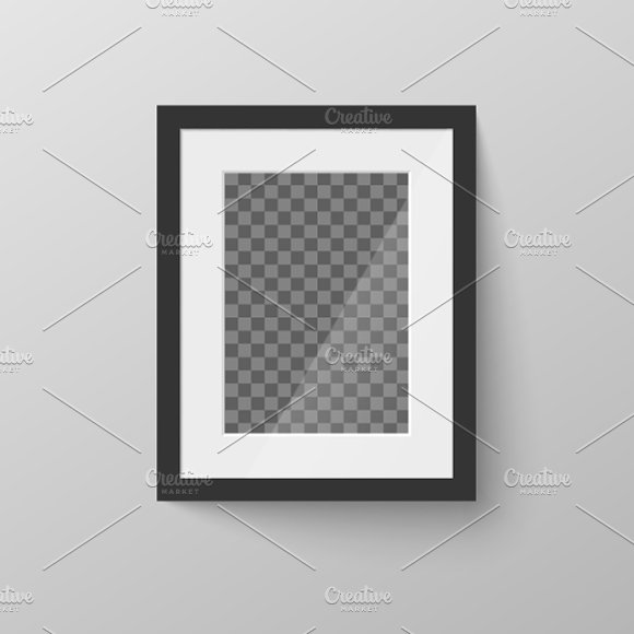 Black Blank Picture Frame On Wall Graphic Objects Creative Market