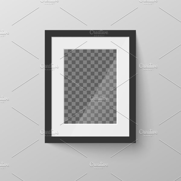 Black blank picture frame on wall ~ Graphic Objects ~ Creative Market