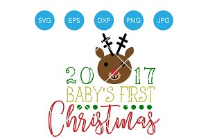 Babys First Christmas Deer SVG