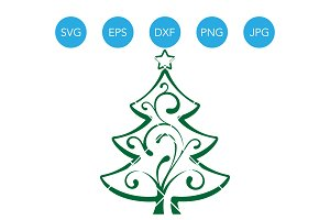 Christmas Tree SVG EPS DXF Clipart