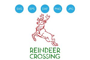 Reindeer Crossing Christmas Decor