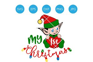 My First Christmas Baby Elf SVG