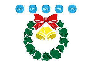 Wreath with Bells for Christmas SVG