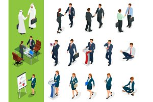 Isometric Business characters poses. Handshake. Set of Businessmans, Businesswomans and Arab Mans on white background. Cartoon people. Create your own design for vector.
