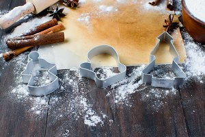 Gingerbread cookie dough and cutters