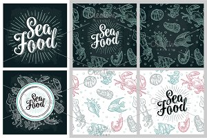 Sea Food Poster and pattern