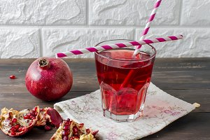 Fresh pomegranate juice in glass