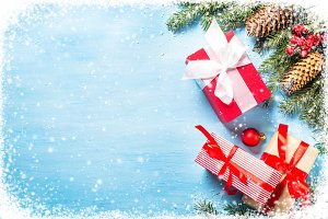 Christmas background with present box,