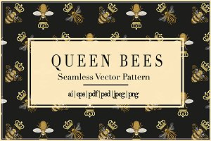 Queen Bees | Vector Pattern