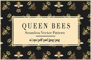 Queen Bees | Vector Pattern