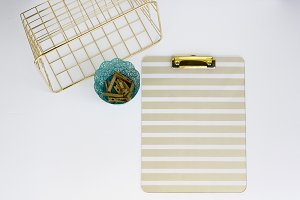 Gold + Teal Workspace Stock Photo