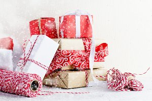 Red and white Christmas gifts boxes