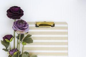 Purple Flower + Gold Clipboard Photo